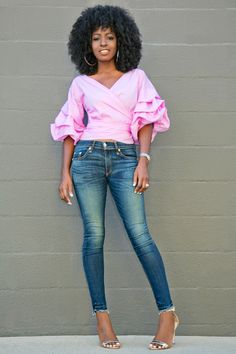 Style Pantry | Ruched Sleeve Wrap Blouse + Ankle Length Jeans