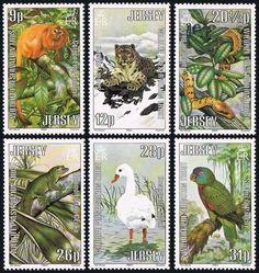 Jersey 320-325,Mint.Wildlife Protection.Snow leopard,Boa,Gecko,Swan,Parrot,1984