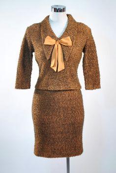 Vintage 1950s 60s Boucle Wool DRESS SUIT SET Mini Wiggle Pencil Skirt Ascot Bow Ties Mad Men Secretary PinUp S Small M Medium