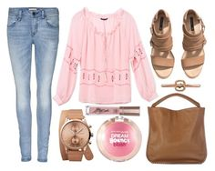 """street style"" by sisaez ❤ liked on Polyvore featuring Burberry, Victoria's Secret, Triwa, Maybelline and H&M"
