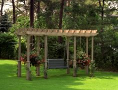 Pergola swing with extensions to hang plants