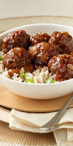 Tender meatballs simmered in barbecue sauce and crushed pineapple and served with rice for a taste of Hawaii