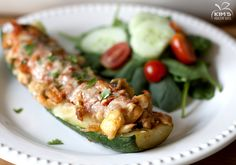 Chicken Enchilada Zucchini Boats -- seriously seriously amazing! Can't wait to make again!!!