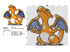 Charizard Pokemon small cross stitch pattern 64 x 62 stitches 4 DMC threads - free cross stitch patterns by Alex