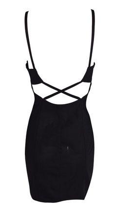 075aa3778d F W 1990 Dolce   Gabbana Black Corset Cross Back Bandage Mini Dress