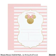 Pink And Gold Glitter Minnie Mouse Inspired Invitation