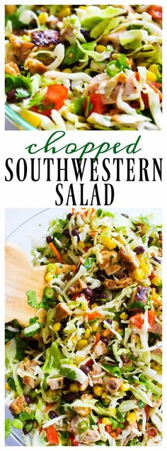 CHOPPED SOUTHWESTERN SALAD shredded green cabbage, black beans, corn, green onion, tomatoes, cilantro, taco strips {if desired} and the best cilantro lime dressing. Full of flavor and easy to prepare in less than 20 minutes; get ready to devour my favorite summer salad. I love those chopped salads, you know the ones I am talking about …