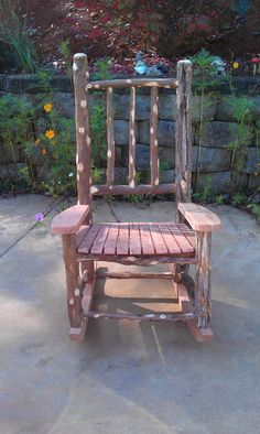 rustic rocking chair made from cedar