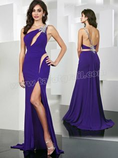 Fashion Mermaid One Shoulder Beading Sleeveless Floor-length Chiffon Dress