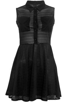 Sheer Stripe Skater Dress