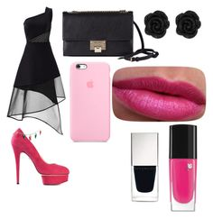 """""""black&pink"""" by twilightytb ❤ liked on Polyvore featuring David Koma, Charlotte Olympia, Jimmy Choo, Lancôme and Givenchy"""