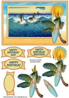 Sun Sea Surf on Craftsuprint designed by Hilary Hallas - An A5 card topper with decoupage layers and choice of sentiment tags featuring a sunny beach with surfers, palm tree and surf board. Matching insert available separately. - Now available for download!