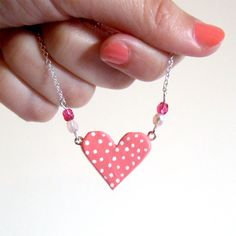Polka dots pink clay heart necklace by yael360.deviantart.com on @deviantART