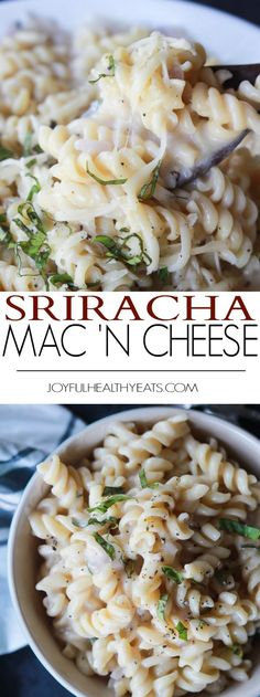 Sriracha Mac and Cheese, a classic amped up with spicy sriracha hot sauce and a few secret ingredients for a healthier comfort food version you'll love! | joyfulhealthyeats.com #recipes #lowcalorie