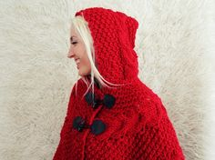 Hand Knit Hooded Poncho by LoveandKnit on Etsy, $125.00
