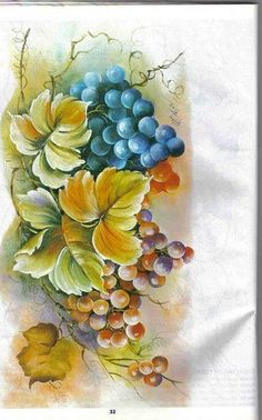 Uvas - pintura em tecido