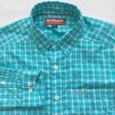 Simms Mens Shirt Size Large L Fishing Products Green White Plaid Nylon Poly #Simms #fishingshirt