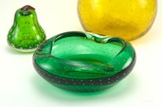 Vintage Emerald Bullicante Art Glass Ashtray