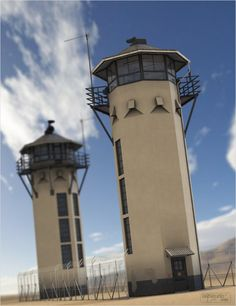 Description: Prison Guard Tower ( DAZ Studio DAZ Studio, Poser ) Presenting a imposing, highly detailed Prison Guard Tower set for your Renders. This set features 3 size of tower, with Prison Life, Underground Bunker, Interesting Buildings, Ecology, 21st Century, Military, Architecture, Windows, Forearm Tattoos