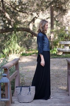 Black maxi dress, denim coat (or chambray top) and striped tote and skinny cognac belt.