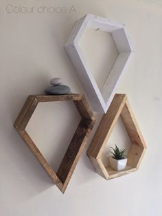 Modern shelving, geometric custom shelving, 3 shelves, rustic shelves, reclaimed loved wood, diamond shelf, quirky decor, wood art, boho
