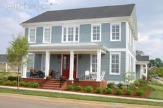 This is my future house.. blue with a red door, white pillars!