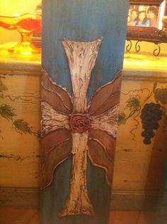 Original cross art on wood