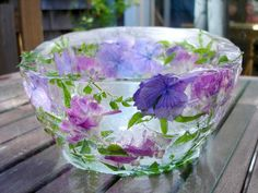 ice bowl - using two bowls with water and flowers in middle then weighed down and frozen