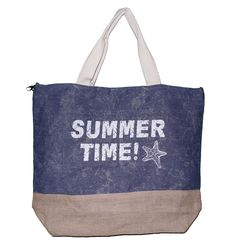 """Summer Time Print Beach Tote Bag with Mesh Webbed Handle (Blue). Fashion Inspired Summer Time Print Tote with Jute Bottom. Dimensions: 21"""" x 17.5"""" x 6"""". Magnetic Closure - Lined - Inside Slip Pocket - Attached Key Holder Clip. Mesh Webbed Handle with 7"""" Drop. Canvas with Jute Trim Bottom."""