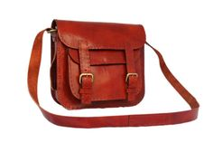 Red Leather Satchel for Women