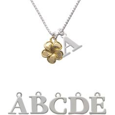 Gold Tone Plumeria Flower Initial Charm Necklace