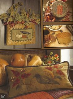 Primitive Folk Art Project Book by Need'l Love: FALLOWEEN THREADS