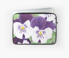 """""""White and purple Pansies flowers"""" Laptop Sleeve by Savousepate on Redbubble #laptopsleeve #watercolor #painting #watercolorpainting #flowers #pansies #pansy #spring #purple #white #green"""