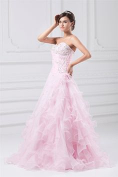 osell wholesale dropship Sweetheart Beading Pleated Layered Floor Length Organza Prom Dress $118.91