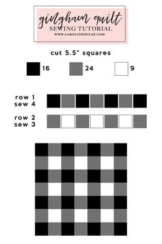 #quilt #sewing #tutorial Gingham Quilt Sewing Tutorial || CarolineHulse.com Beginner Quilt Patterns, Quilting For Beginners, Quilt Block Patterns, Quilting Tips, Quilting Tutorials, Machine Quilting, Quilting Projects, Quilting Designs, Sewing Tutorials