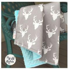 Bucks Gray Cream & Saltwater Minky Stroller Blanket Buck