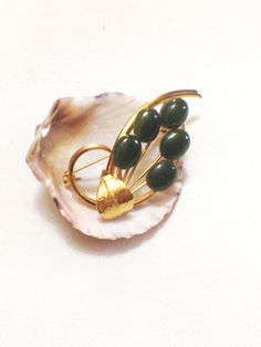 Vintage Gold Plated Flower Brooch, Faux Jade Cabochons, Very Dainty, 1950s
