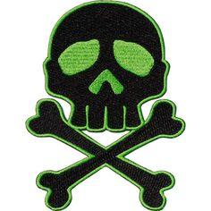 Kreepsville 666 - Skull Cross Bones Green Patch