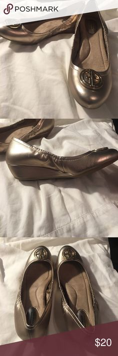 Gold Wedge flats Worn once gold wedge flats Shoes Flats & Loafers