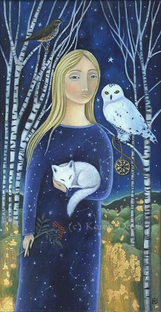 'Queen of the Earth Child of the Sky' by Karen Davis, Owls, Art
