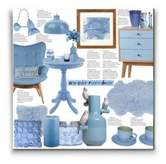 """One Color Room Decor"" by marionmeyer on Polyvore featuring interior, interiors, interior design, Zuhause, home decor, interior decorating, Porthos Home, Anglepoise, Amara und Capri Blue"
