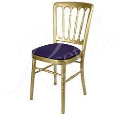 Gold Bentwood with Purple Seat Pad. Popular Gold Wedding Chair Cheltenham Style Purple Theme