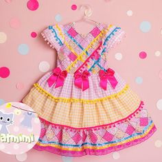Vestido Caipira cod.022 Kids Outfits, Cool Outfits, Cowgirl Outfits, Kids Wear, Alice, Summer Dresses, Party, Pattern, How To Wear