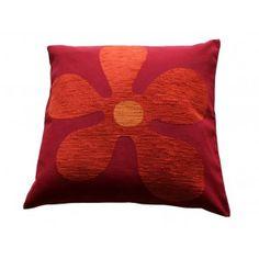 Rood Sierkussen Flower Red met Oranje Bloem