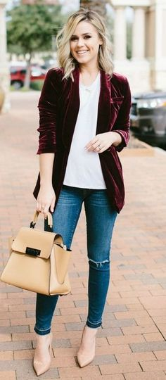 fashionable+outfit+/+white+top+++velvet+blazer+++rips+++nude+bag+++heels