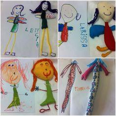 Bonecas em feltro, feitas à partir dos desenhos das crianças.