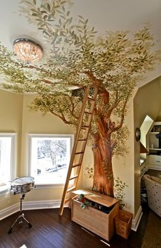 """Tree mural AND a kids' secret hideout? What could be better? """"Technique: dark detailed leaves in front, as the tree goes back in space, lighten the leaves...pretty effect"""""""