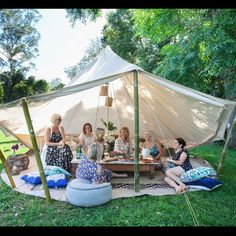 Beautiful chill out tent from a recent Bachelorette photoshoot with … - Modern Bell Tent Camping, Camping Glamping, Luxury Camping, Canopy Outdoor, Outdoor Decor, Party Deco, Shower Tent, Hens Night, Outdoor Parties