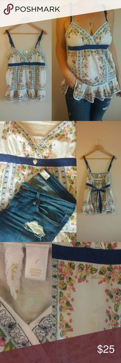 """Anthropologie Eloise Babydoll Top Floral print babydoll top by Eloise from Anthropologie. Empire waist with tie back. Ruffles on straps and at hem. About 20"""" long and 20"""" armpit to armpit. Eloise from Anthropologie Tops Tank Tops"""