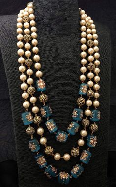 Items similar to Hand crafted Pearl and Beads Necklace, Jaipur Mala on Etsy New Necklace Designs, Gold Earrings Designs, Antique Jewellery Designs, Gold Jewellery Design, Fancy Jewellery, Designer Jewelry, Beaded Jewelry, Beaded Necklace, Pearl Jewelry